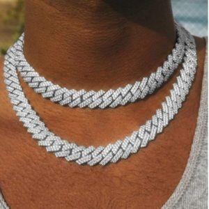18K  White Gold Diamond Miami Cuban Link Necklace